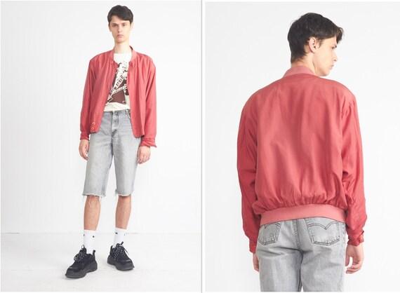 Vintage LEADER Red Silk Bomber Jacket/ Size L - image 1