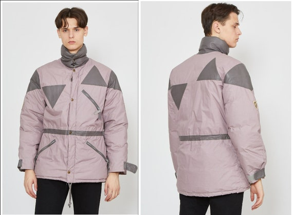 Vintage Purple Puffer Leather Neck Jacket Coat/ Si