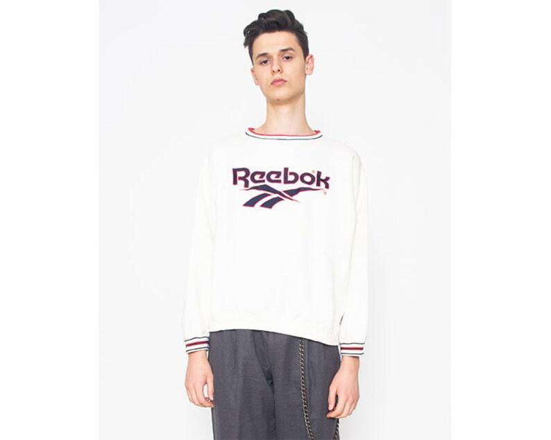 d7e9465540bf Vintage White REEBOK White Sweatshirt  Size L