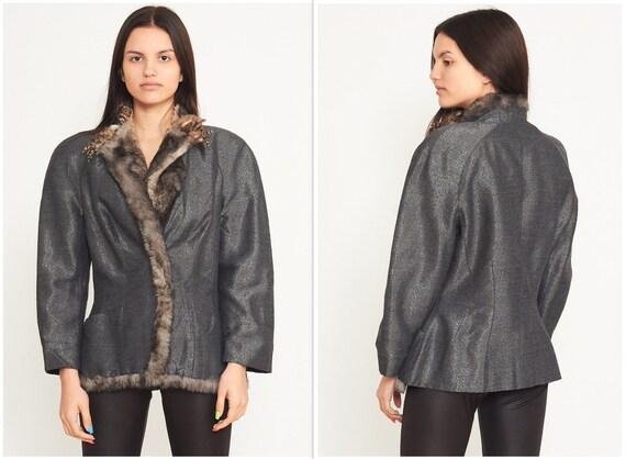 Vintage Grey MUGLER Fur Neck Jacket Blazer/ Size 4