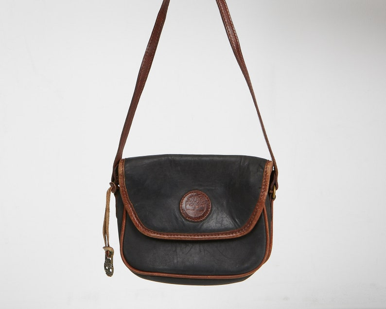 Vintage Stunning Women's Black Brown TIMBERLAND Leather Shoulder Bag Purse