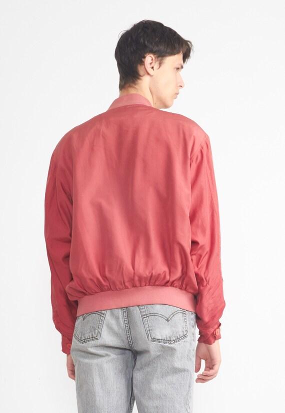 Vintage LEADER Red Silk Bomber Jacket/ Size L - image 6