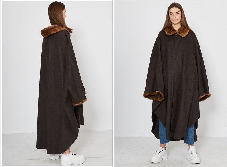 Vintage Brown H.MOSER Wool Long Cape Coat Size XL