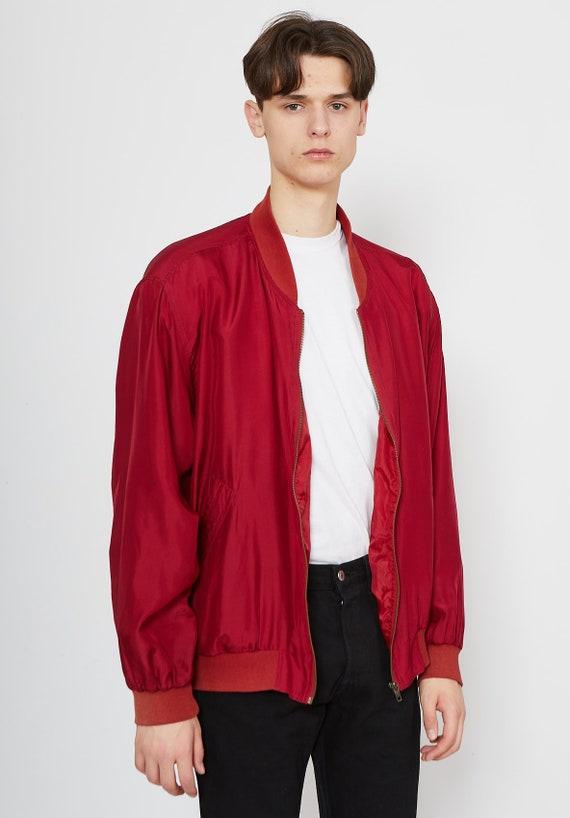 Vintage BRUNO ALTONELLI Red Bomber Silk Jacket/ S… - image 3