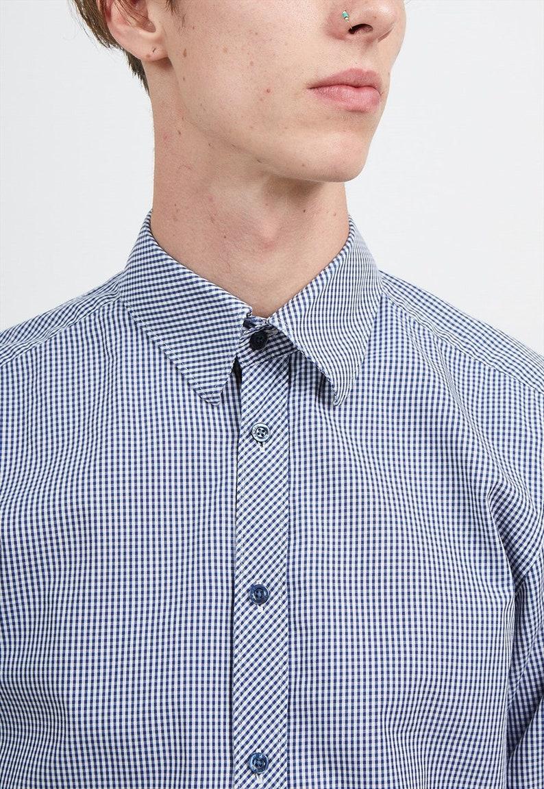 Checkered Blue KENZO Long Sleeves Shirts Size 4116