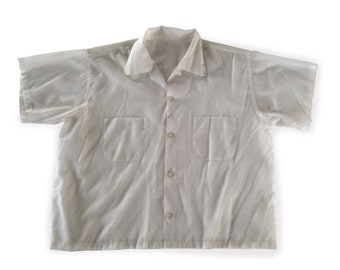 b3cacc2e5c005b 60 s Sheer Bowling   Rockabilly Style Off White See Through Shirt