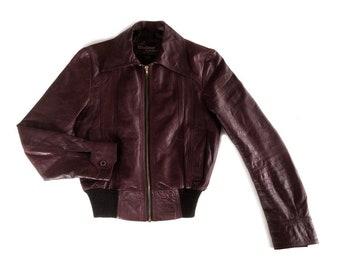 Dark Red-Brown Leather Flight Jacket e9c579e6c