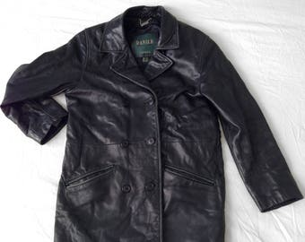 Double Breasted Long Black Leather Jacket (Mens Vintage)