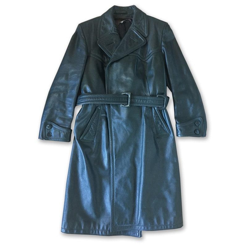 RARE: Unisex Dark Green Belted Leather Jacket Trench Coat image 0