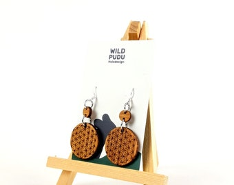Earrings silver 925 - earrings wood cherry tree 4 cm long mandala handmade wooden studs Mother's Day gift jewelry wooden