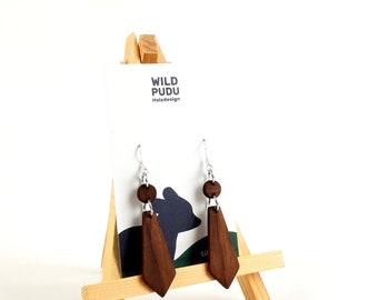 Earrings silver 925 - earrings wood walnut 5cm long handmade wooden studs Mother's Day gift jewelry wooden