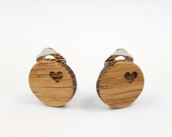 Ear clips wood oak 15 mm studs heart handmade wooden studs wood jewelry