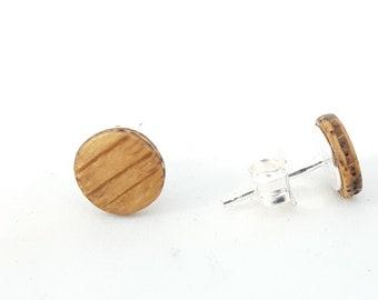 Ohrstecker Silber 925 - Holz Eiche 8mm handgemacht