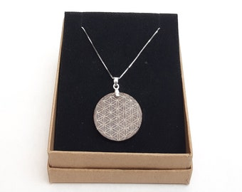 Necklace silver 925 - wooden walnut flower of life handmade gift jewelry wooden Mother's Day girlfriend selfmade