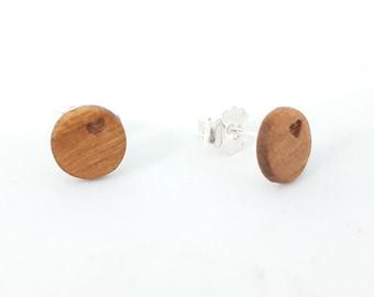 Ohrstecker Silber 925 - Holz Kirschbaum  8mm Herz  handgemacht