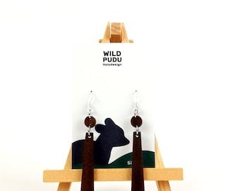 Earrings silver 925 - earrings wood walnut 6 cm long handmade wooden studs Mother's Day gift jewelry wooden