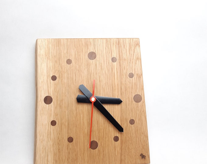 Featured listing image: Wall clock solid wood clock wood wall clock oak