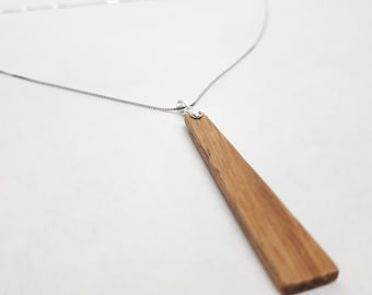 Necklace silver 925 - wood cherry tree trapeze handmade gift jewelry wooden Mother's Day girlfriend selfmade