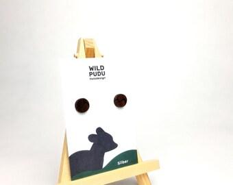 Studs Heart Silver 925 - Mountain Wood Walnut 10 mm Handmade Wooden Studs Gift Jewelry wooden
