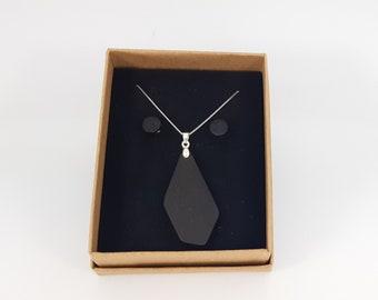 Halskette + Ohrstecker Silber 925 - Holz Mooreiche handgemacht
