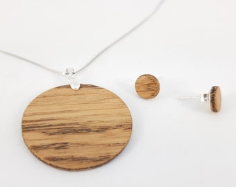 Necklace + studs silver 925 - wood oak handmade wooden studs Valentine's Day gift jewelry wooden