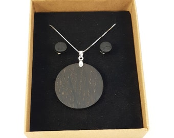 Necklace + studs silver 925 - wooden moorland handmade wooden studs Christmas gift jewelry wooden