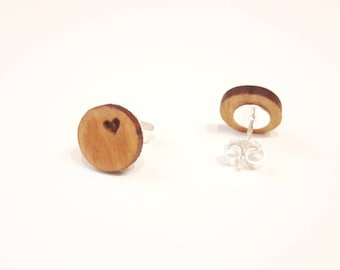 Studs Heart Silver 925 - Wooden Cherry Tree 10 mm Handmade Wooden Studs Valentine's Day Gift Jewelry wooden