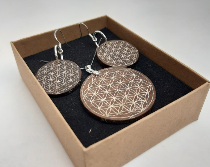 Featured listing image: Necklace + ear pendant silver 925 - wooden walnut flower of life handmade gift jewelry wooden Mother's Day girlfriend selfmade