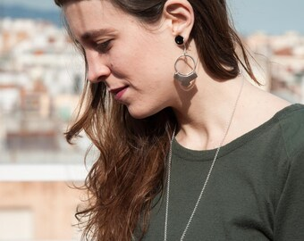 Julia #2 pack / Geometric earrings and necklace / Silver pack / Geometric shapes / Round shapes / Free movement earrings and necklace
