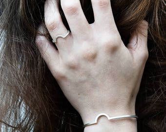 Silver ring and bracelet set. Geometric ring and bracelet. Semicircle ring and bracelet.