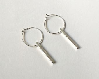 Circle and slash earrings, Hoop earrings, Minimalist earrings