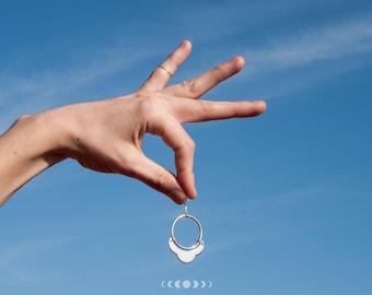 Julia earrings #3 / Geometric earrings / Silver earrings / Geometric shapes / Round earrings / Free movement earrings / Free movement hoops