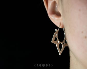Lotus #1 earrings / Organic shape earrings / Silver lotus