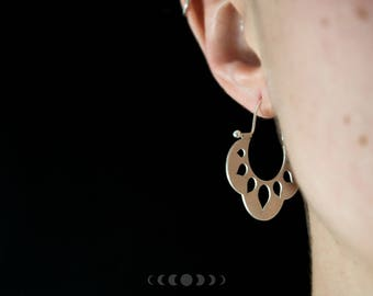 Lotus #3 earrings / Organic shape earrings / Silver lotus