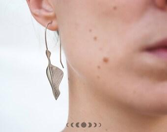Handmade Folded earrings, Silver earrings