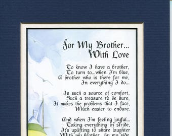 Gifts For Him Men A Brother Poem Print Birthday Gift My
