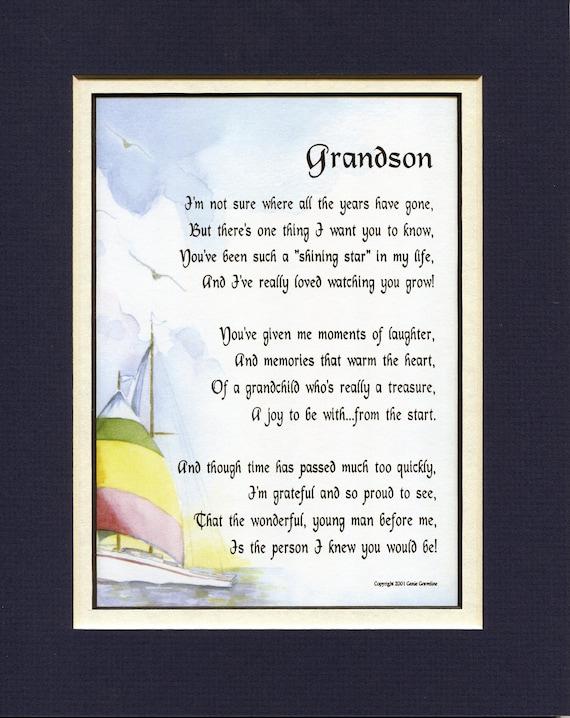 Grandson Poem Grandson Gift Grandson Present Grandson Etsy