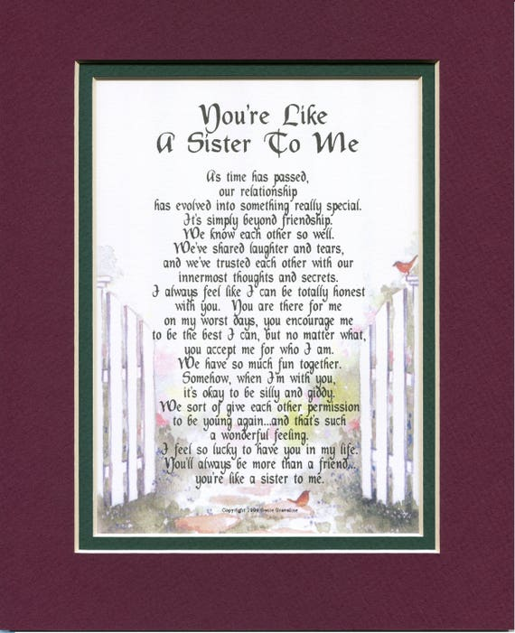 Like A Sister To Me Best Friend Poem Like A Sister Etsy In loving memory poems and verses are death remembrance verses which can be used for deceased family or friend poems, a poem for a deceased grandmother or grandfather or as free bereavement poems or prayers. like a sister to me best friend poem like a sister friend poem friendship poem friend verse friend print friend birthday gift