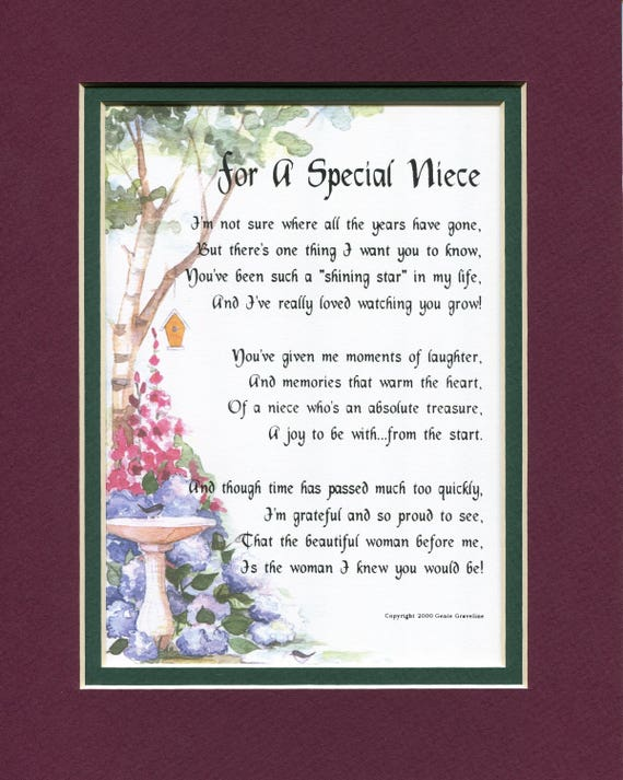Gifts For Her Gifts For Women Gifts For A Niece Niece Poem Etsy