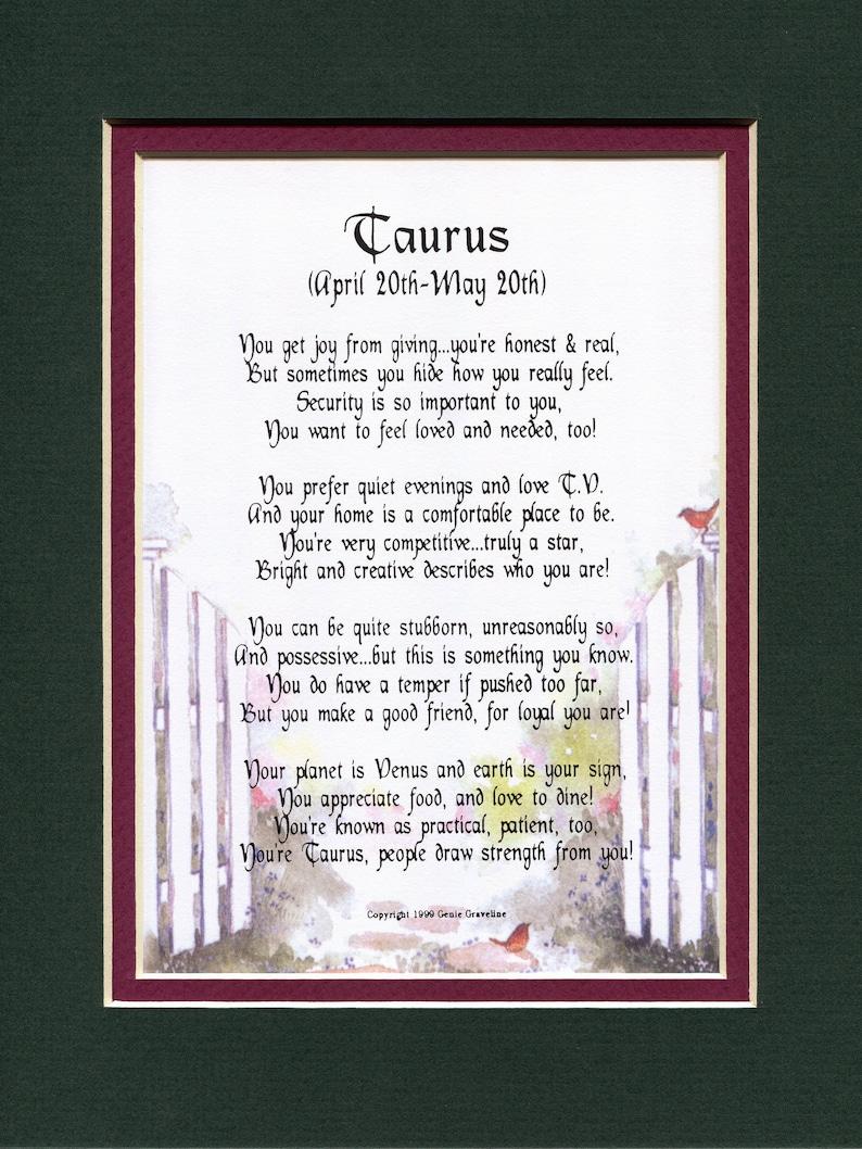 Gifts For Her, Gifts For Him, Gifts For Men, Gifts For Women, Taurus Zodiac  Sign, Horoscope Poem, Horoscope Print, Zodiac Poem Zodiac Print