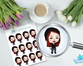 Sheena Activity Sticker Erin Condren Planner/ XQuibi Girl ECLP Stationery Accessories/Reminder Organizer Sticker Set/ Character Stickers