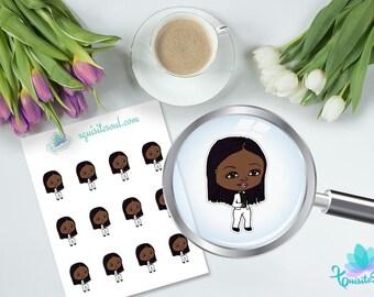 Almira African American Planner Sticker for Erin Condren Planner/ Black Girl Character Stickers for Happy Planner