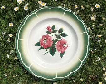 Digoin-Sarreguemines serving platter, pink and green floral pattern, antique ceramic serving plate