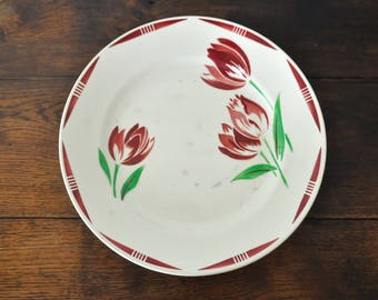 Badonviller serving platter, antique ceramic serving plate, floral pattern with tulips