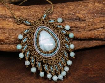Larimar Macrame Collier   Jungle Leaf Design   Boho Gypsy Psychedelic Goddess Necklace