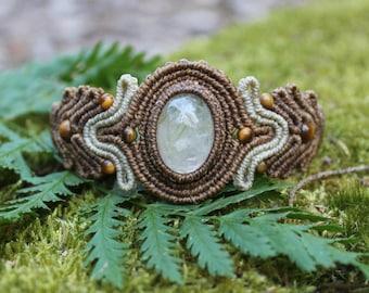 Earthy Forest Fairy Gypsy Macramé Bracelet with Rutilated Quartz and Tiger's Eye