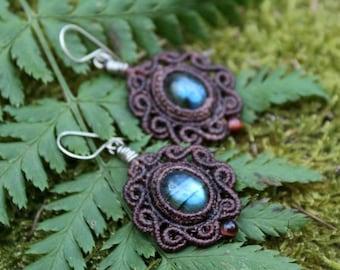 Magical Forest Fairy Labradorite  Earrings   Gypsy Goddess Boho Jewelry   Micro Macramé