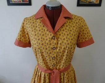 1950's style dress/cotton dress/shirt dress/ Size M