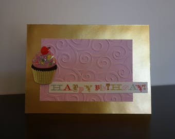 Happy Birthday Card, Pink and Gold