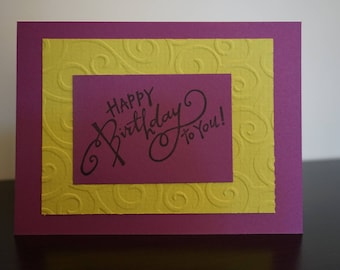 HappyBirthday Card, Bright Purple and Green